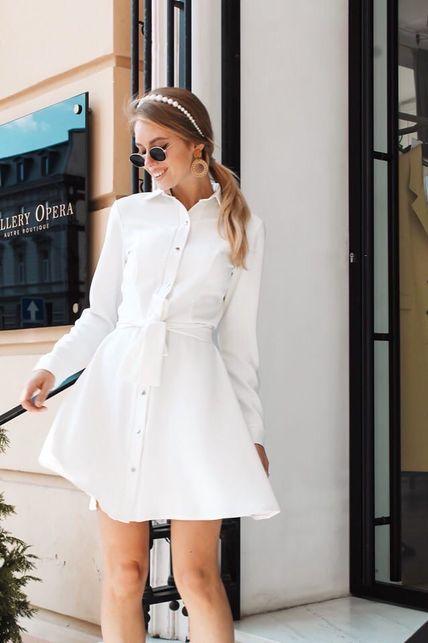 Бело платье на кнопках с поясом