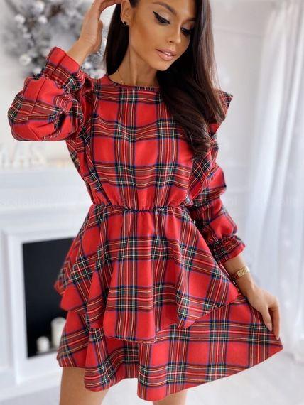 Красное в клетку платья воланы