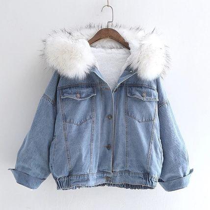Зимняя джинсовка с меховой белой подкладкой