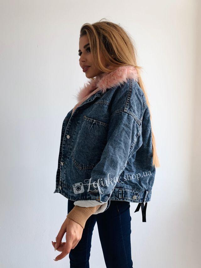 Зимняя джинсовка с меховой розовой подкладкой
