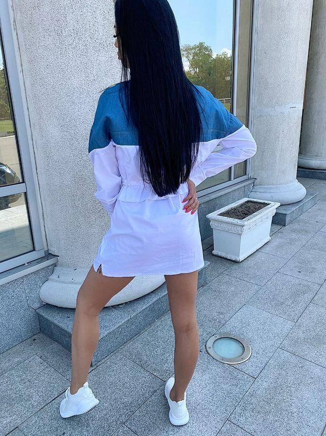 Платье Рубашка Чёрно-Белый