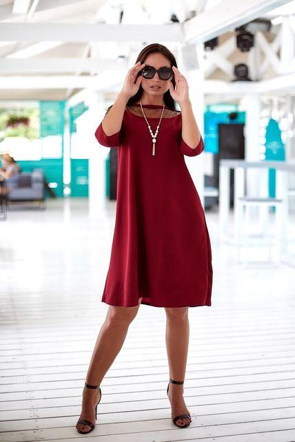 Красное платья рукав в сеточку