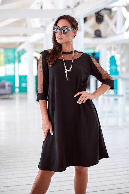 Чёрное платья рукав в сеточку