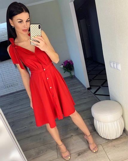 Платье миди красное